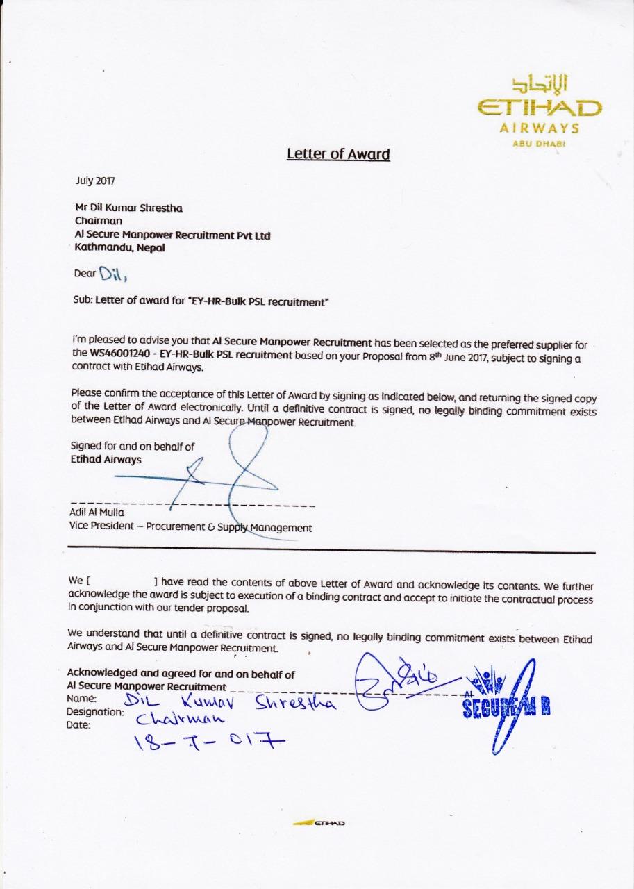 Award From Etihad Airways